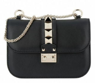 Valentino Small Rockstud Lock Black Shoulder Bag