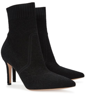Gianvito Rossi Fiona 90 Stretch-Knit Ankle Boots in Black