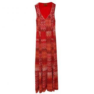 Missoni Red Lurex Knit Sleeveless Dress