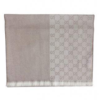 Gucci Beige Wool Monogram Reversible Scarf