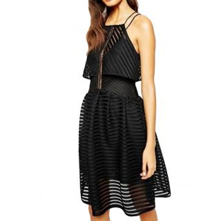 Self Portrait Black Chevron Mesh Overlay Dress