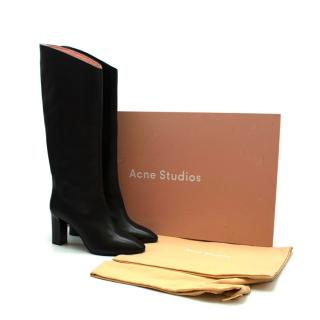 Acne Studios Black Leather Knee High Heeled Aly Boots