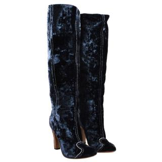 Bottega Veneta Blue Velvet Embroidered Knee Boots