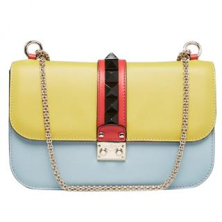 Valentino Multicolor Calfskin Leather Rockstud Glam Lock Bag