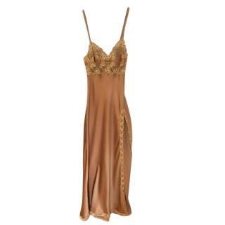 La Perla Gold Silk & Lace Night Dress