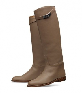 Hermes Leather Taupe Jumping Kelly Boots