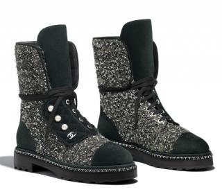 Chanel Tweed & Suede Calfskin Short Boots