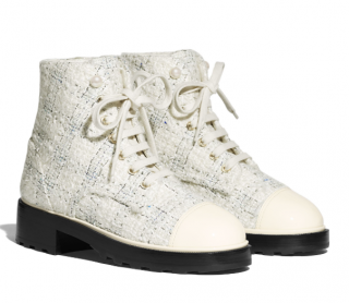 Chanel Tweed & Calfskin Ankle Boots