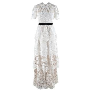 Self Portrait White Lace Maxi Dress