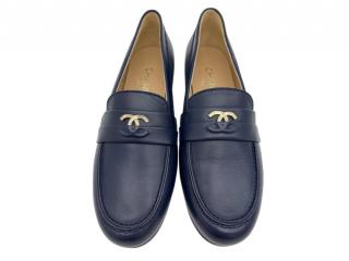 Chanel Blue Leather Classic Loafers