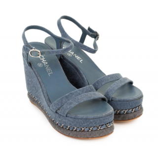 Chanel Distressed Denim Chain-Link Platform Wedge Sandals