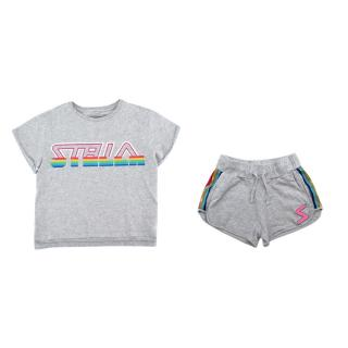 Stella McCartney Grey Cotton Rainbow Details T-shirt & Shorts Set