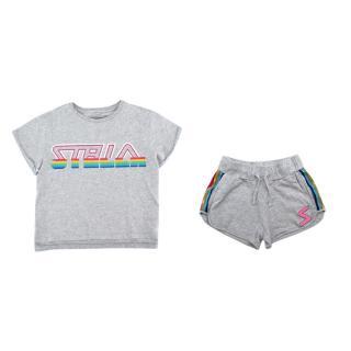 Stella McCartney Grey Cotton Rainbow Details T-shirt & Shorts Set