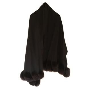 Loro Piana Mink Trimmed Cashmere Wrap Shawl