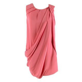 Gucci Pink Silk Draped Mini Dress