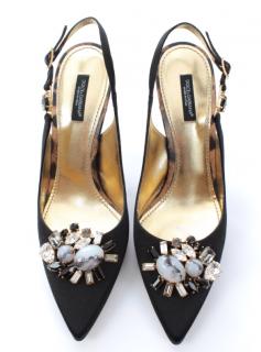Dolce & Gabbana Crystal Embellished Slingback Sandals