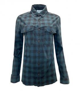 Zadig & Voltaire Blue Cotton Plaid Shirt