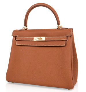 Hermes Gold Colour Clemence Leather Kelly Retourne 25 GHW