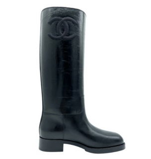 Chanel Black Glossy Calfskin Tall Boots