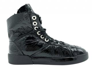 Chanel Shearling Lined Crackled Patent Leather Boots