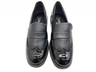 Chanel Black Brogue Detail Patent & Smooth Leather Chain Trim Loafers
