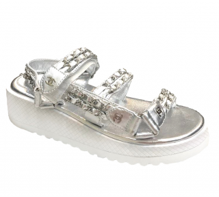 Chanel Silver/White Double Strap Chain Sandals
