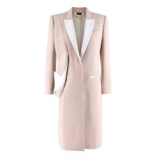 Alexander McQueen Pink Wool & Silk Drop Lapel Coat