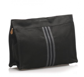 Hermes Black Canvas Fourre Tout Clutch