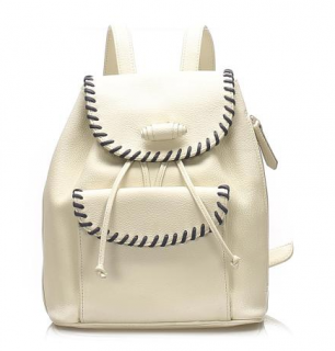 Saint Laurent Vintage Ivory Leather Backpack with Braided trim