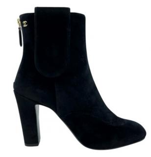 Chanel Black Velvet Classic Ankle Boots