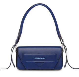 Prada Blue Leather Manuelle Shoulder Bag