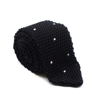 Kilgour Black Dotted Silk Knit Tie