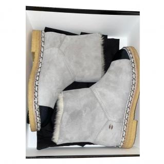 Chanel Shearling Lined Suede Chain Trim Boots