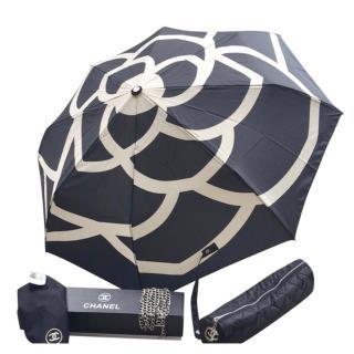 Chanel Black Nylon Camellia Print Umbrella