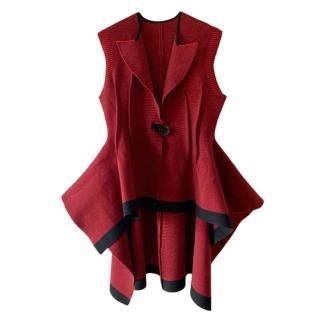 Sonia Rykiel Red Asymmetric Sleeveless Jacket