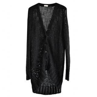 Saint Laurent open knit wool/mohair longline cardigan