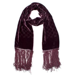 Gucci GG Purple Velvet Tasseled Scarf