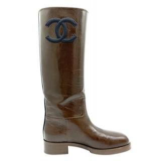 Chanel Glossy Brown Leather CC Tall Boots