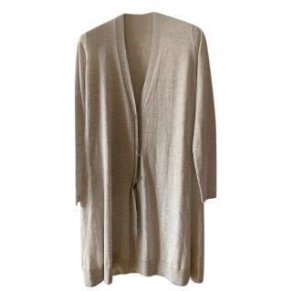 Max Mara Pale Grey Cashmere & Silk Cardigan