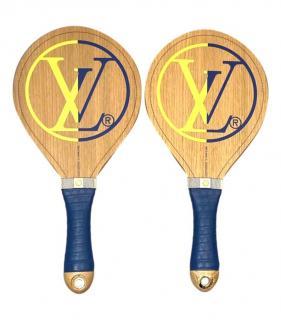 Louis Vuitton Wooden Beach Bats with Contrast Logo & Damier Details