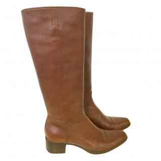 Prada Brown Leather Knee High Boots