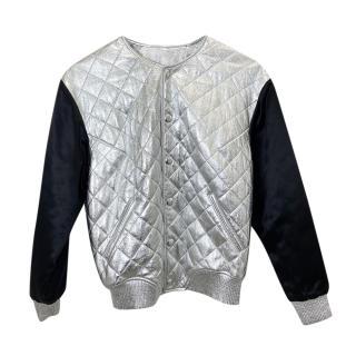 Saint Laurent Black & Silver Quilted Bomber Jacket