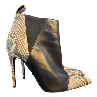 Gucci Leather & Python Ankle Boots