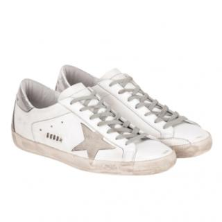 Golden Goose Deluxe Brand White, grey & silver Superstar sneakers