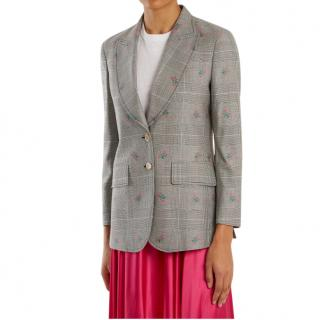 Gucci Prince of Wales Check Embroidered Tailored Jacket