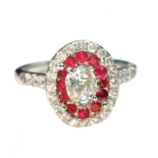 Bespoke 18ct White Gold Ruby & Diamond Cluster Ring