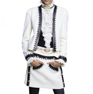 Chanel Paris/Salzburg Two-Tone Leather Trimmed Tweed Jacket & Skirt