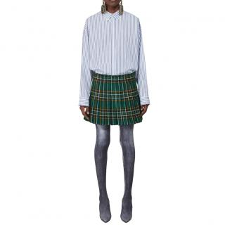 Balenciaga Tartan Pleated Wool Runway Mini Skirt