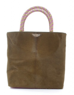Dior Pony Hair Masai Tote with Pink Braided Top Handle