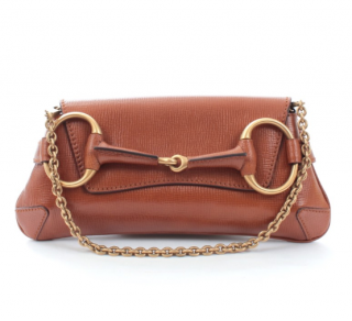 Gucci by Tom Ford Brown Leather Horsebit Shoulder Bag